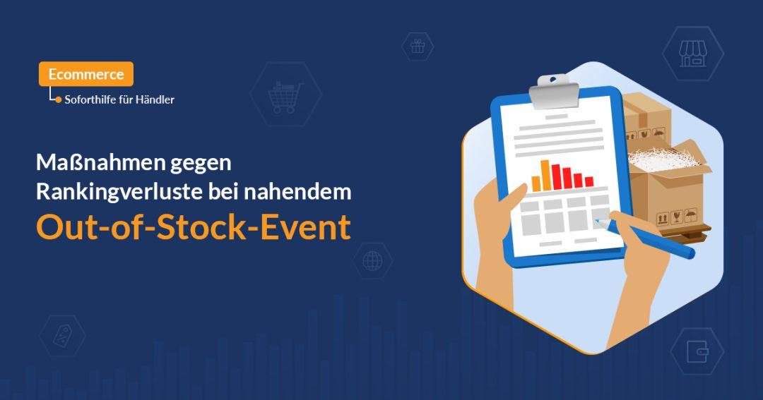 Out of Stock mit Icon, das Statistik aufzeigt mit Paketboxen im Hintergrund