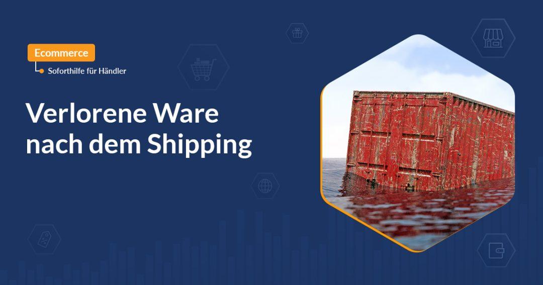 Lost-Shipment mit rotem Container der auf Wasser schwimmt